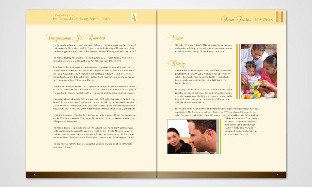 Adler graduate school brochure overdog art freelance for Campaign brochure template