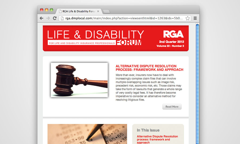 RGA Reinsurance - Life & Disability Email Newsletter