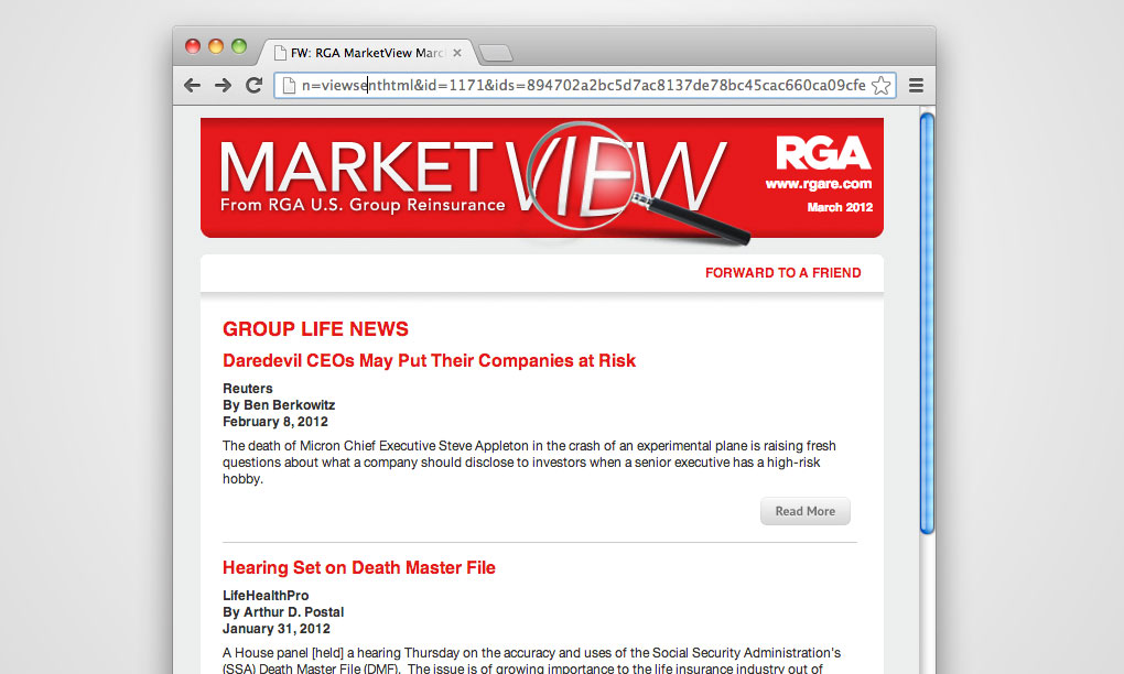 RGA Reinsurance - MarketView Email Template