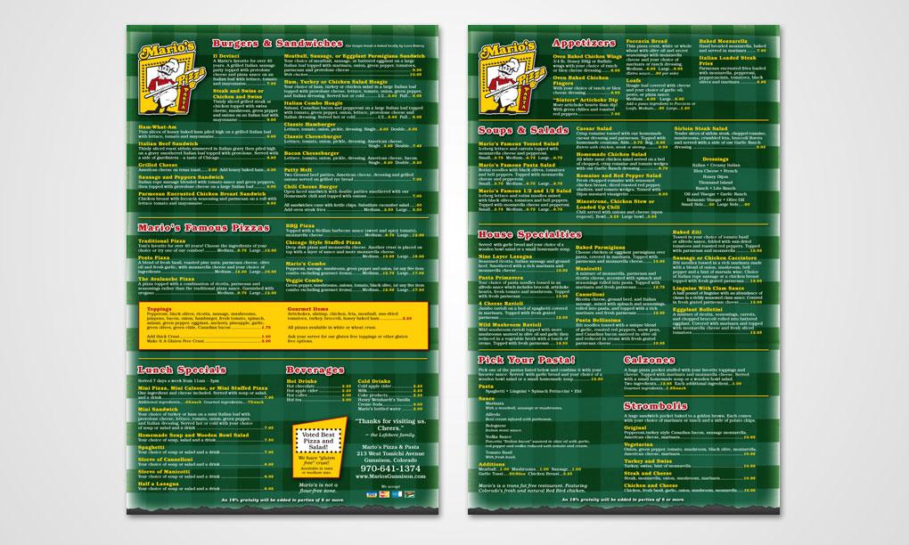 Mario's Pizza & Pasta - Menus